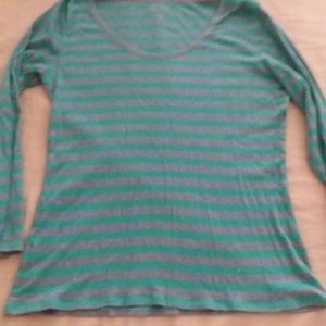 Old Navy Stripe Gray and Teal Long Sleeve Blouse